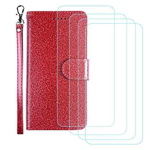 DQG Funda para Alcatel 3X 2020 (6.52'), [4 Tabletas Protector de Pantalla Vidrio Templado] + Leather Carcasa Tapa Bumper PU Caso Soporte Cartera Case Flip Cuero Wallet Cover para - Red