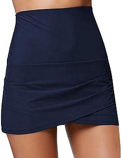 eac7ecc228 Women Shirred High Waisted Tulip Hem Swim Skirt Ruched Skirted Bikini  Swimsuit Bottom Beachwear