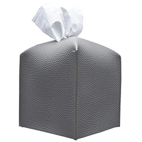 carrotez Tissue Box Cover, [Refined] Modern PU Leather Square Tissue Box Holder - Decorative Holder/Organizer for Bathroom Vanity Countertop, Night Stands, Office Desk & Car 5'X5'X5' - Charcoal