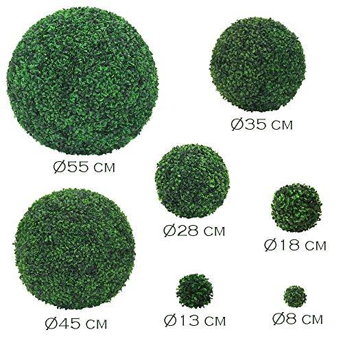 Decovego Buchsbaum Kugel Plastikpflanze Künstliche Pflanze Buxus Deko Ø28cm Innen und Aussen - 4