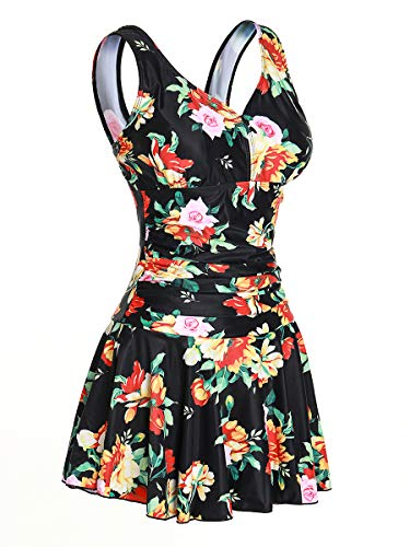 MiYang Women's Plus-Size Shaping One Piece Swim Dresses Swimsuit Multi-Flower Medium (US 8-10)
