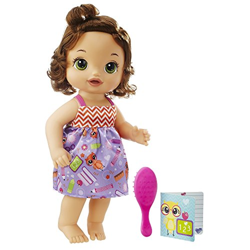 BABY ALIVE READY FOR SCHOOL BABY: Brown Hair Baby Doll, School-Themed Dress, Doll Accessories Include Notebook & Brush, Doll For 3-Year-Old Girls and Boys and Up,Multicolor
