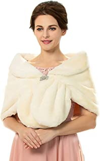 Campsis Women's Wedding Faux Fur Shawls and Wraps Fur Scarves Stoles Cover Up for Women and Girls