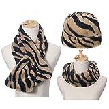 TEBI Juego de 3 gorros unisex con bufanda, diseño de cebra y rayas