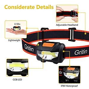 Gritin Linterna Frontal LED, [2 Pack] Linterna Cabeza COB Super Brillante 3 Modos Ligera&Impermeable&Adjustable con 6 Pilas AAA para Niños, Adultos, Correr, Acampar, Caminar, Excursión, Pesca etc.