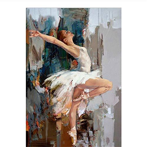 Originele Dansen Ballerina Schilderij Beroemde Mahnoor Artiest Geschilderd Abstract Ballet Meisje Muur Schilderij Print op Canva -60x80cm Geen Frame