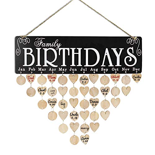 LanMa Birthday Reminder Calendar DIY Wooden Family Birthday Board for Mom Dad Friend Gifts with Round & Heart Wood Tags