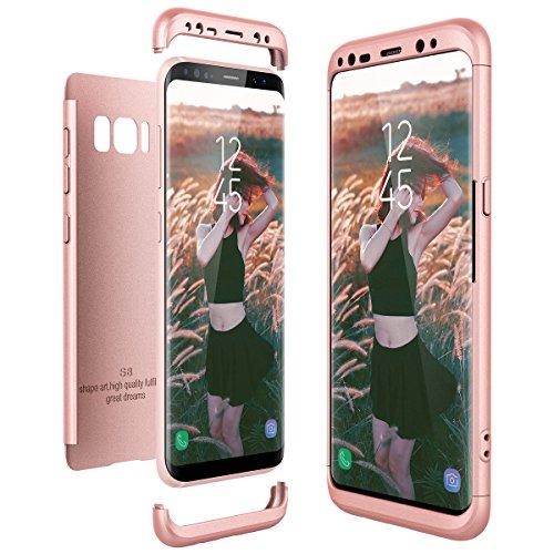 CE-Link Funda Samsung Galaxy S8, Carcasa Fundas para Samsung Galaxy S8, 3 en 1 Desmontable Ultra-Delgado Anti-Arañazos Case Protectora - Oro Rosa