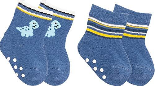 Vitasox Baby Socken Frottee, ABS Stoppersocken, Ferse und Spitze verstärkt, Strümpfe für Babys aus Baumwolle, sehr weich und warm | blau | 80/86 | 4 Paar