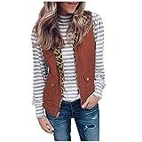 Women Zipper Double-sided Pocket Vest Jacket Slim Fit Sleeveless Blazer Blouse Open Front Coat Long Outerwear