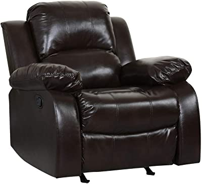 Blackjack Furniture 9393 Portico Collection Leather Air Mid Century Modern Living Room Reclining, Chair, Brown