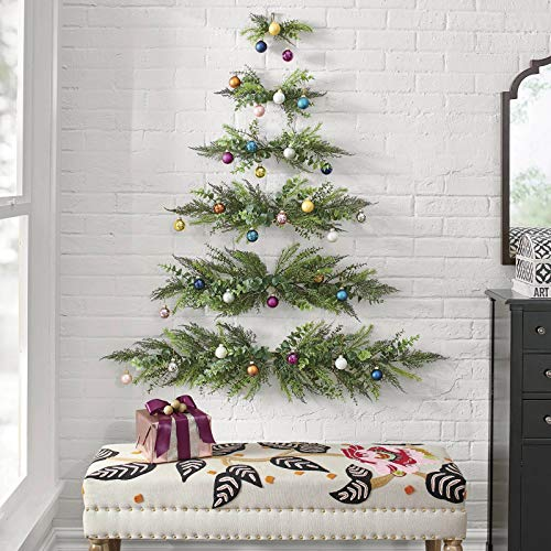 Mini Wall-Mounted Christmas Tree,Space-Saving DIY Assembly Wall Hanging Christmas Tree,Half Christmas Tree for Wall Pendant Wall Cloth Decoration Small Christmas Tree,New Year Decorations Xmas Gifts
