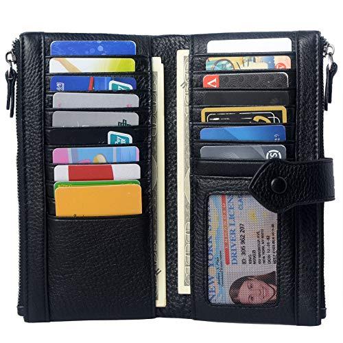 Donne RFID Blocco Multi Porta Carta di Credito In Vera Pelle Bifold Slim Portafogli con Tasca Cerniera - nero -