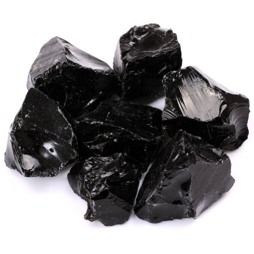 Tgs Gems 1/2Lb Bulk Size 1'' Rough Gemstones Black Obsidian Mine Reiki Healing Crystals Free Pouch