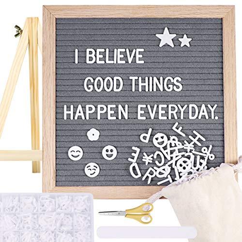 STOBOK Grey Felt Letter Board 10 x 10 | 580 White Letters & Symbols | Changeable Letter Board, Message Board, Word Board for Office Home Decor