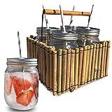 Juego 4 Vasos Cocktail, Mojitos, Te frío, Café Helado en Cesta de Bambú. Vasos cocteles grandes con pajita. Para compartir con los Mejores Amigos.