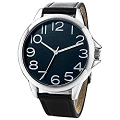 Large face watches for men minimalist men watch 45mm Arabic dial men watches big numbers mark easy to view Non-fluorescent Classic simple men's business watch Black leather band watch Watches Quartz Wristwatch Easily matched with a variety of busines...