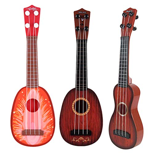 PRETYZOOM Kindergitarre Ukulele Spielzeug Fruchtform Gitarre Mini Redwood Gitarre Spielt Musikinstrumente Lernspielzeug für Anfänger Anfänger Kind Kleinkind 3Pcs (Zufälliges Muster)