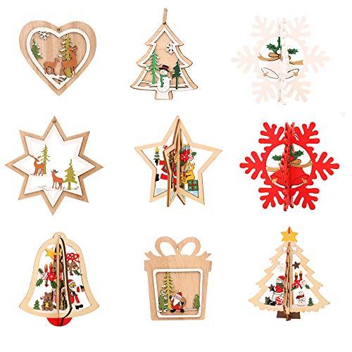Amasawa Pezzi Natale in Legno Pendente Fai da Te in Legno Ciondolo Decorazioni per Albero di Natale e Decorazioni per Feste (Colore del Legno)
