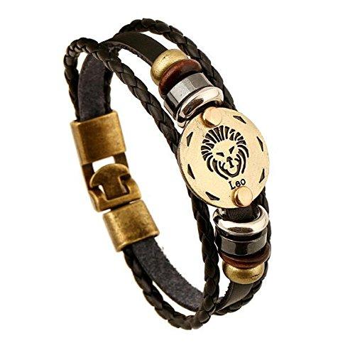 MeiPing 12 Konstellation Geflochtenes Seil Leder Unisex Armband Sternzeichen