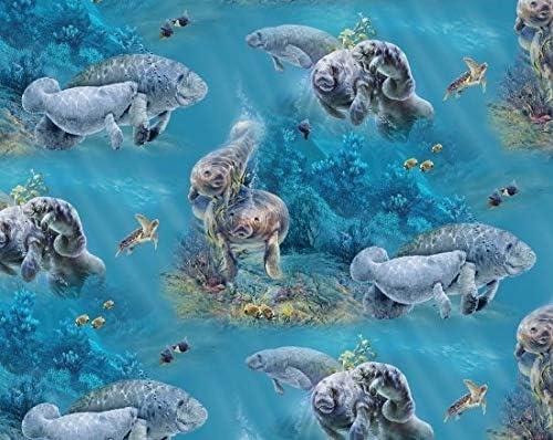 Aqua Manatees Fabric