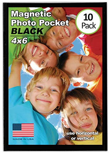 Magtech Magnetic Photo Pocket Picture Frame, Black, Holds 4x6 Inch Photos, 10 Pack (10046)