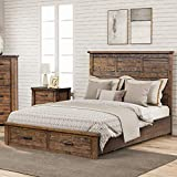 Knocbel Farmhouse Queen Bed Frame with Headboard and Storage Drawers, Reclaimed Solid Wood Platform Bed Mattress Foundation with 5 Slats Support, 600lbs Weight Capacity (Natural)