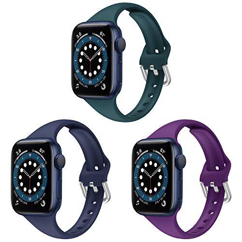 Correa Apple Watch, Compatible con Apple Watch Correa 38mm 42mm 40mm 44mm, Correa de Ultradelgado Silicona Suave Transpirable de Repuesto Compatible para Apple Watch SE/iWatch Series 6 5 4 3 2 1