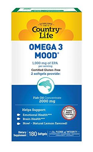 Country Life Omega 3 Mood 1,000mg EPA 150mg DHA - 2,000mg Pure Fish Oil Omega 3 Fatty Acids - Emotional Health & Brain Health Support Supplement - Gluten-Free Natural Lemon Flavor - 180 Softgels