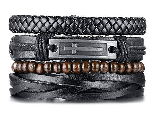 "TempBeau 4pcs/Set Black Leather Bracelet for Men Women, Cross Charm Wide Wristband, Wood Wooden Beads , Braided Woven Viking Ethnic Tribal Bangle, Elastic Adjustable Length 6.5""-11.22"",Send Gift Box"