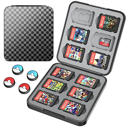 HEYSTOP Game Card Case Compatible with Nintendo Switch Games,12 Slot Storage Protective Box, Slim and Portable Protective Shell Switch Storage Bag with Game Storage, Black