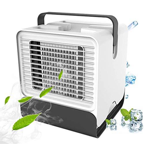 huasida Air Cooler,Ventola Box, USB Condizionatore Portatile, Ventilatore Senza Rumore,LED Night Light Ventola da Tavolo di Raffreddamento per Camera da Letto, Viaggio, Ufficio (Bianco)