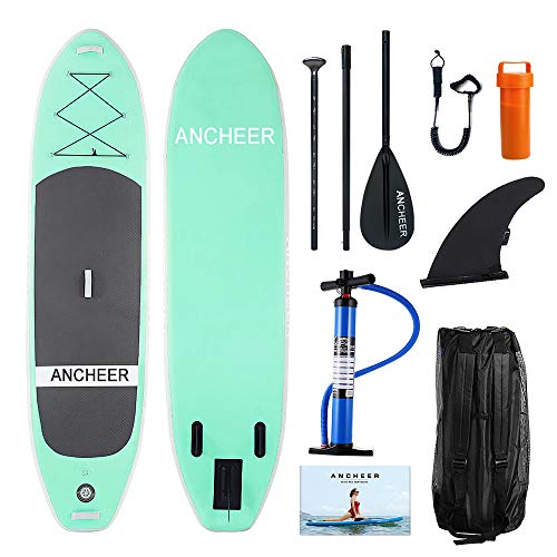 ANCHEER Inflatable Stand Up Paddle Board 10' with Non-Slip Deck, iSUP Boards w/Complete KIT, Adjustable Paddle, Leash, Fin, Hand Pump and Backpack,Youth & Adult