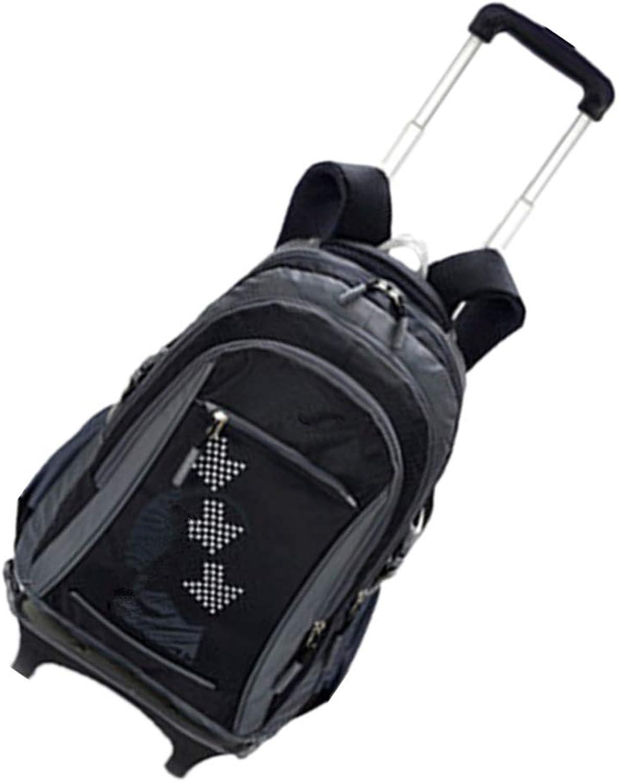 Zhxinashu Wheels School Bag Trolley Backpack  Travel Highcapacity Kids Neutral Rucksack Durable Waterproof Student Daypack 2 Rounds Black