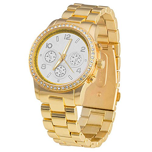 Taffstyle Damen-Armbanduhr Analog Quarz mit Metall-Armband Chronograph Optik Strass Kristall Uhr Gold mit weißem Ziffernblatt