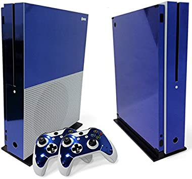2 controller stickers Wrap Cover For Xbox One S slim Console WPS Glossy Protecive Vinyl Decal Skin Dark blue glossy