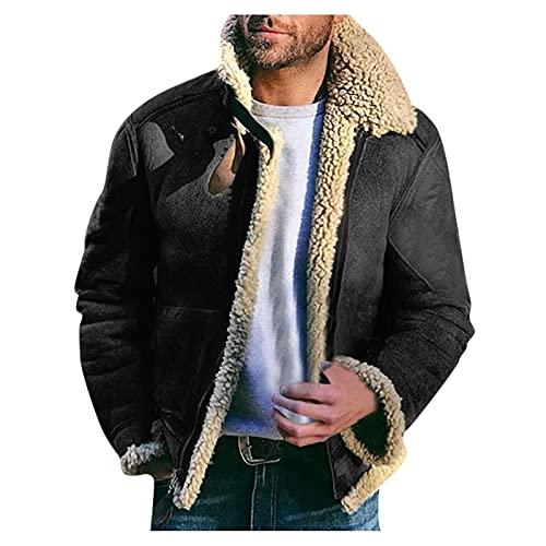 BIKETAFUWY Parka invernale con fodera, giacca da uomo, imbottita, calda e calda, in pile, antivento, per il tempo libero, Nero , XXL