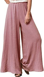 Sobrisah Women's Casual Elastic Waist Wide Leg Long Palazzo Cotton Linen Pants Loose Fit Trousers with Pockets