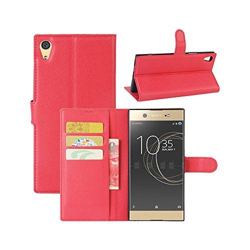 Lapinette Funda de Piel Compatible con Sony Xperia L1 - Carcasa con Tapa Libro Tipo Folio - Funda de Piel Sintética Sony Xperia L1 Tapa y Cartera - Cierre Magnético Rojo