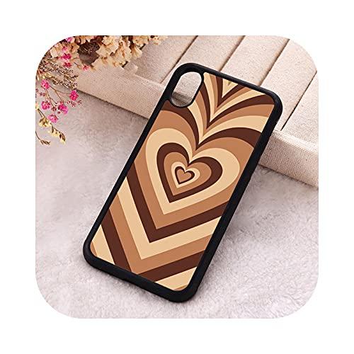 ETWJ 5 5S SE 2020 - Carcasa para iPhone 6, 6S, 7, 8 Plus, X Xs XR 11 y 12 Mini Pro Max de goma de silicona Love Heart en marrón para iPhone 11