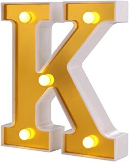 Samapet K LED Light Up Marquee Letters, Battery Powered Sign Letter 26 Alphabet with Lights for Wedding Engagement Birthday Party Table Decoration bar Christmas Night Home, White(K)