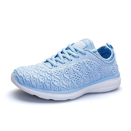 CAGAYA Herren Damen Laufschuhe Sneaker Atmungsaktive Mesh Sportschuhe Freizeitschuhe Leichte Turnschuhe Schuhe (37, Hellblau)