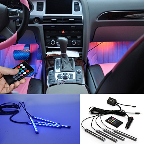 BRTLX Car Interior Lights Atmosphere Kit decorativo LED RGB Strip Light 12V 4 x 9 LED con Sound Active Function Universal Fitment