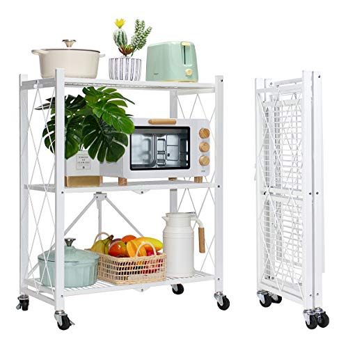 MSSOHKAN 3-Tier Foldable Storage Shelves with Wheels Metal Storage Shelving Units Heavy Duty Collapsible Kitchen Shelves BookshelfSmall Rack with Wheels