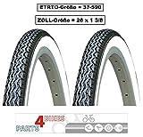 P4B   2 pneus de vélo 66 cm   pour Un comportement Confortable   26 x 1 3/8   37-590   Manteau de vélo   en Noir/Blanc