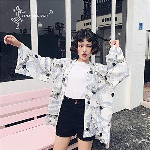K+F FKYGDQ Yukata Verano Estilo Japonés Impresa Ocasional De La Gasa De La Blusa Kimono Femme Protector Solar Harajuku Kimono Cardigan Cosplay Haori (Color : White, Size : One Size)