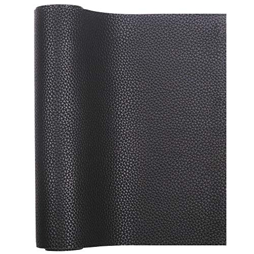 """Meneng Solid PU Synthetic Leather Faux Litchi Pattern Leather Sheet 9"""" x 53"""" Perfect for Dressing Sewing Crafting DIY Projects (Black)"""