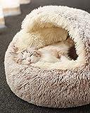 Cama para gatos, de felpa suave, con forma de cueva; casa para gatos en interiores y cojín para dormir, cálida para invierno, antideslizante, extraíble y lavable