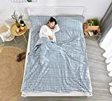 GYK Boutique Saco de Dormir de Viaje de algodón Saco de Dormir portátil para Adultos, Azul 120x210cm