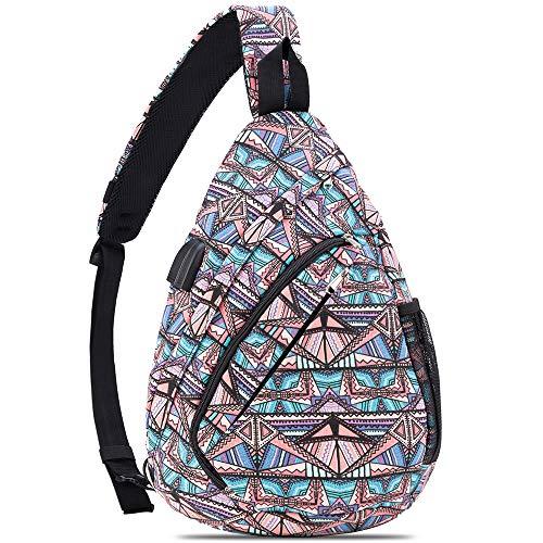 HOLYBIRD Sling Backpack, Multipurpose chest Crossbody Shoulder Bag Travel Hiking Daypack for women with YKK metal zipper (Bohemia Blue)
